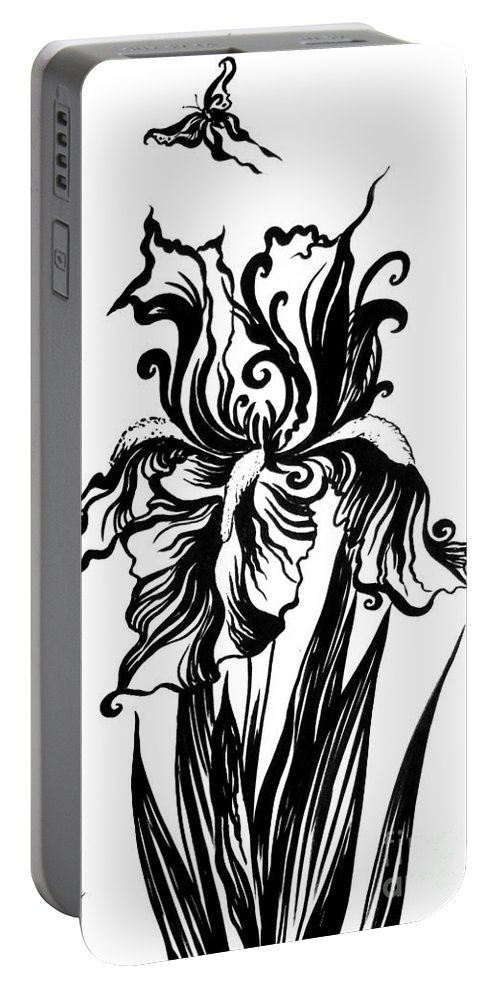 Iris Portable Battery Charger featuring the drawing Iris Flower And Butterfly by Sofia Metal Queen