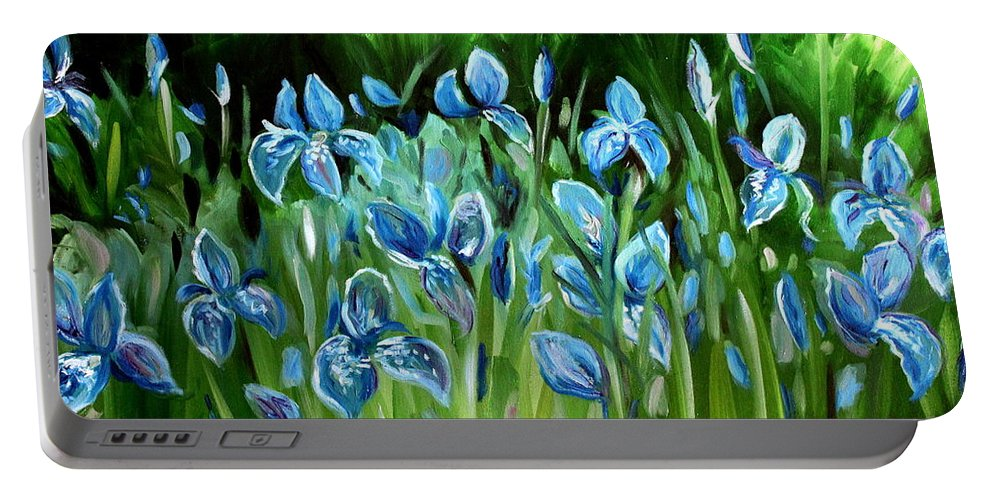 Flowers Portable Battery Charger featuring the painting Iris Galore by Elizabeth Robinette Tyndall