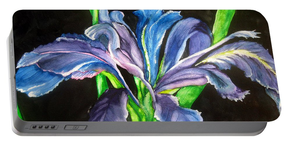 Iris Portable Battery Charger featuring the painting Iris by Lil Taylor
