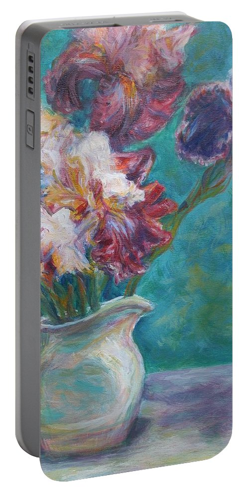 Impressionist Portable Battery Charger featuring the painting Iris Medley - Original Impressionist Painting by Quin Sweetman