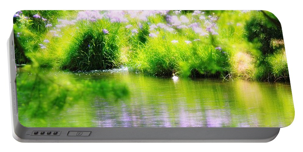Iris Portable Battery Charger featuring the photograph Iris' Reflection by Karin Everhart