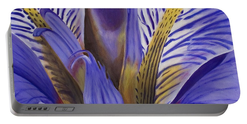 Flower Portable Battery Charger featuring the painting Iris by Rob De Vries