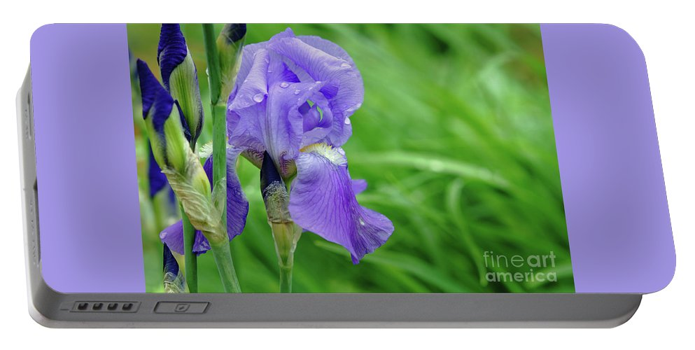 Blue Portable Battery Charger featuring the photograph Iris by Robin Clifton