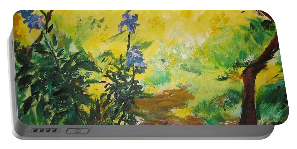 Sunlight Portable Battery Charger featuring the painting Irises And Sunlight by Lizzy Forrester