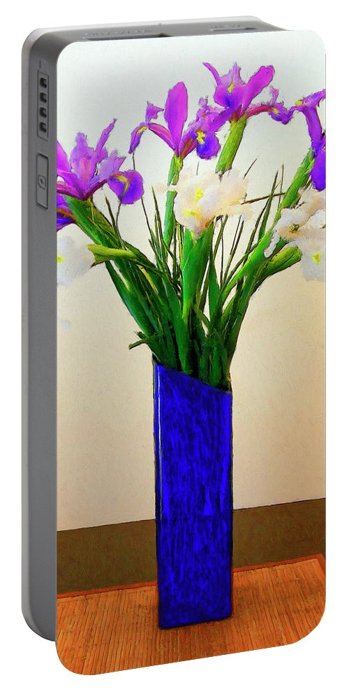 Irises Portable Battery Charger featuring the painting Irises by Dominic Piperata