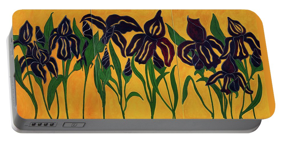 Flowers Portable Battery Charger featuring the painting Irises by Portraits By NC