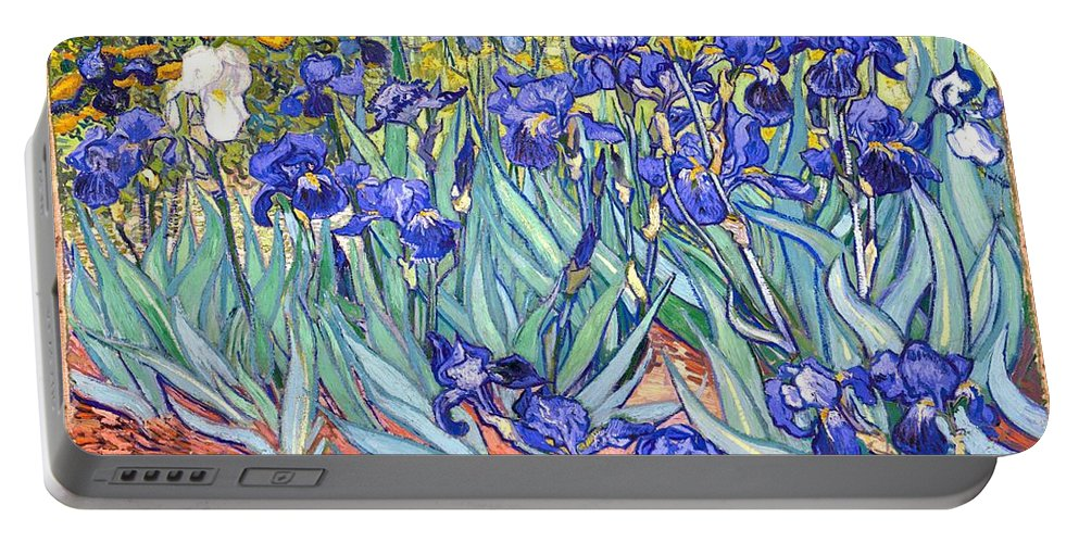 Van Gogh Portable Battery Charger featuring the painting Irises by Van Gogh