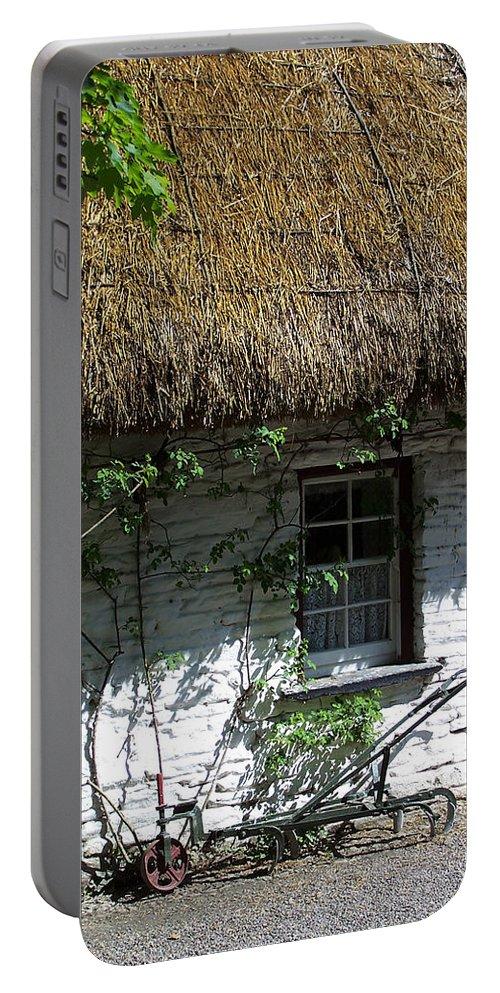 Irish Portable Battery Charger featuring the photograph Irish Farm Cottage Window County Cork Ireland by Teresa Mucha