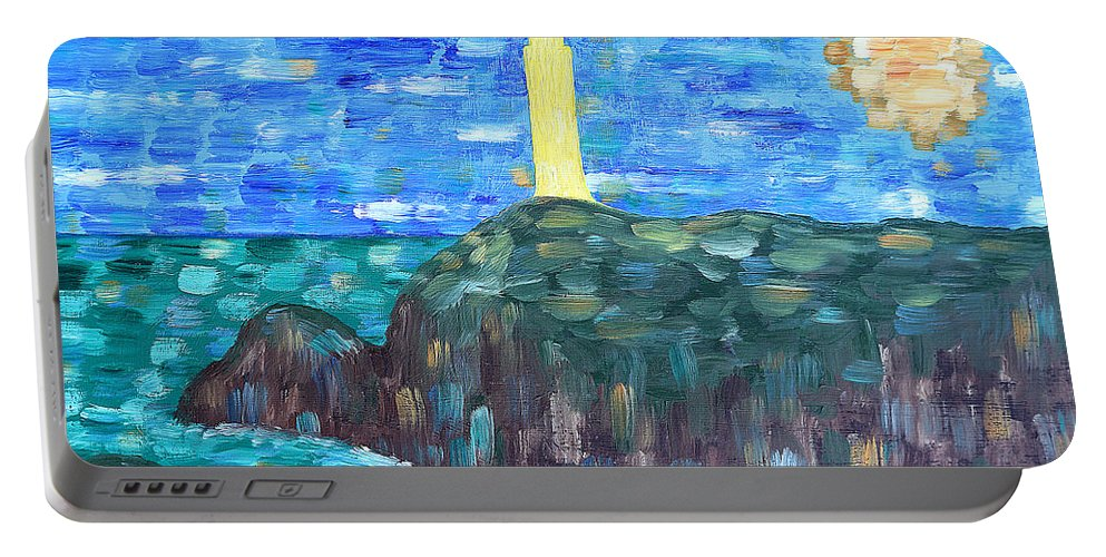Lighthouse Portable Battery Charger featuring the painting Irish Landscape 16 by Patrick J Murphy