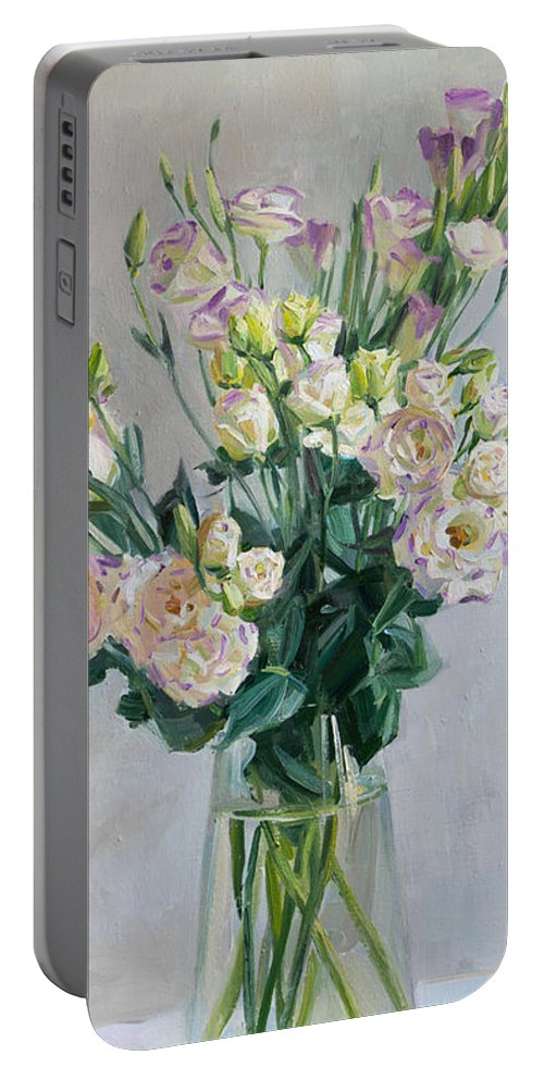 Flowers Portable Battery Charger featuring the painting Irish Rose by Victoria Kharchenko