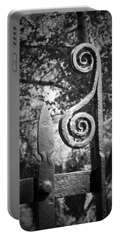 Irish Portable Battery Charger featuring the photograph Iron Gate Detail County Clare Ireland by Teresa Mucha