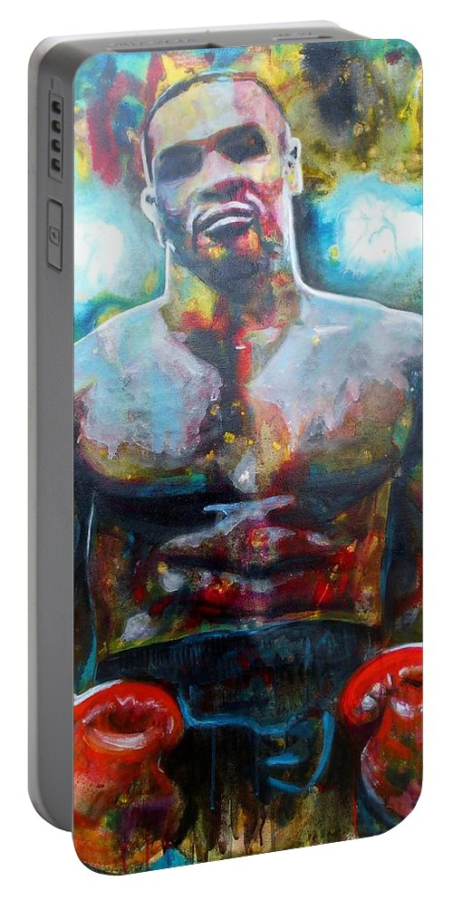 Art Portable Battery Charger featuring the painting Iron Mike by Angie Wright