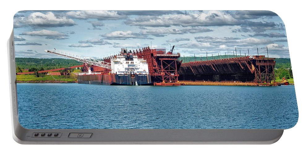 Americas Portable Battery Charger featuring the photograph Iron Ore Loading Onto Laker by Roderick Bley