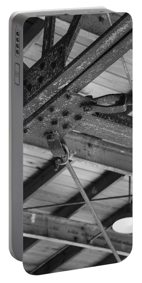 Black And White Portable Battery Charger featuring the photograph Iron Roof by Rob Hans