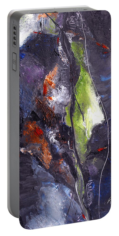 Abstract Portable Battery Charger featuring the painting Irreconcilable Differences by Ruth Palmer