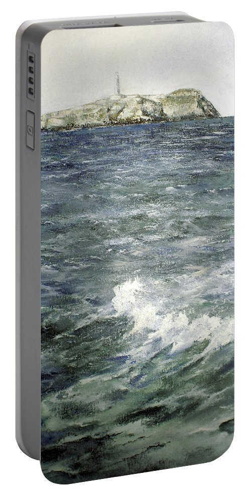 Isla De Mouro Portable Battery Charger featuring the painting Isla De Mouro-santander by Tomas Castano