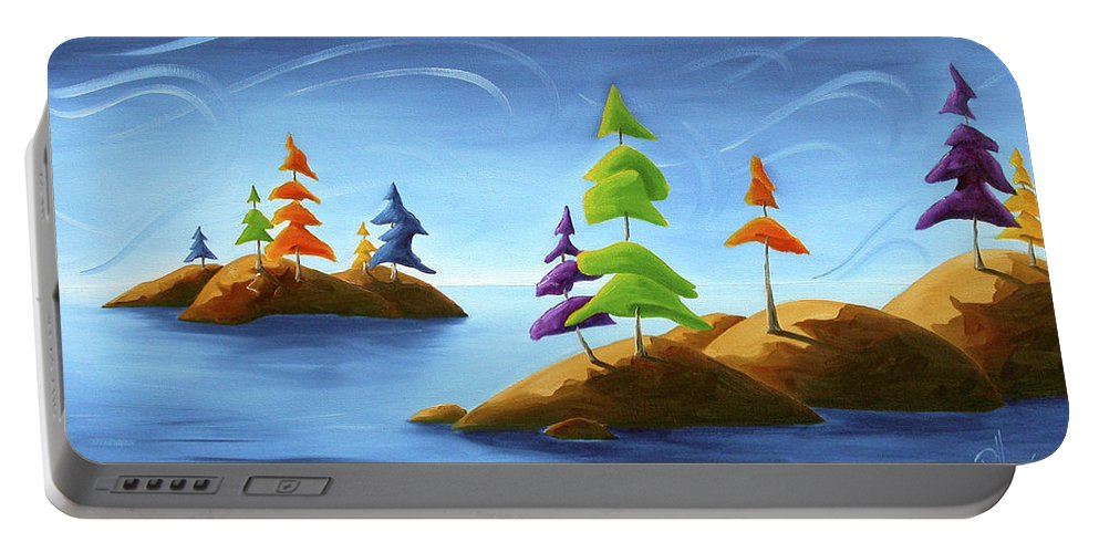 Landscape Portable Battery Charger featuring the painting Island Carnival by Richard Hoedl