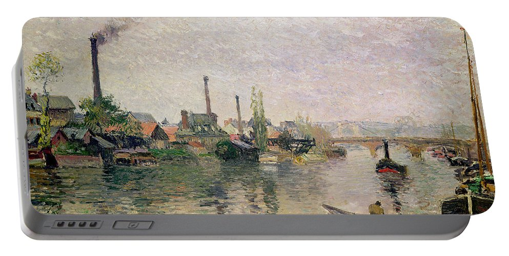 Ile Portable Battery Charger featuring the painting Island Of The Cross At Rouen by Camille Pissarro