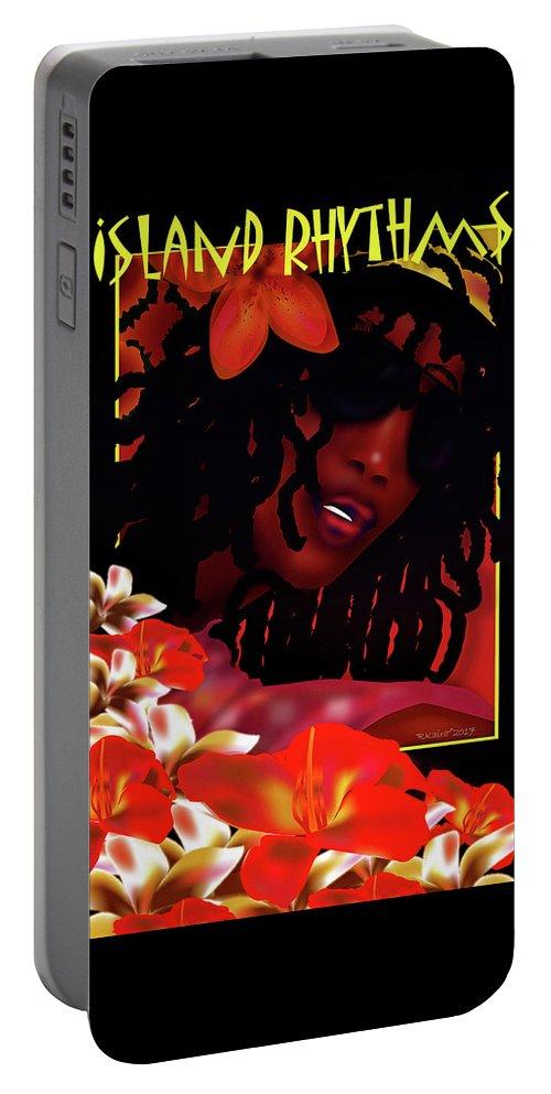 Beautiful Portable Battery Charger featuring the digital art Island Rhythm by Robina Kaira