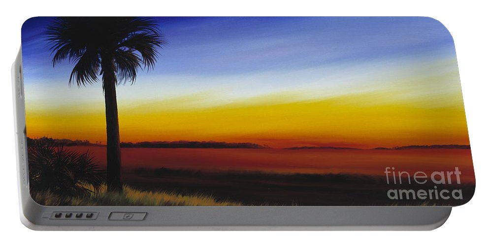 Palmetto Tree Portable Battery Charger featuring the painting Island River Palmetto by James Christopher Hill