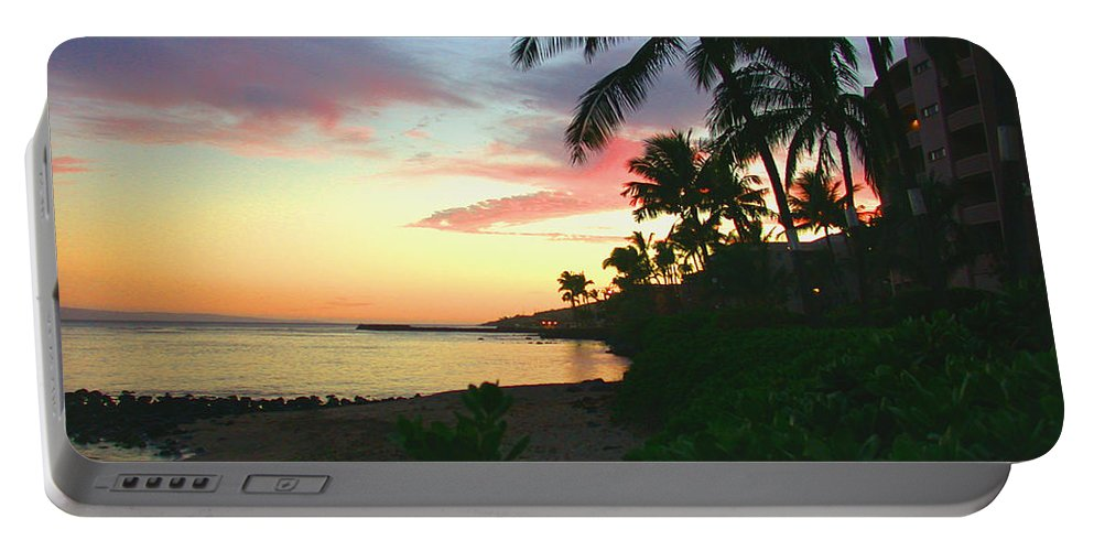 Sunset Portable Battery Charger featuring the photograph Island Sunset by Angie Hamlin