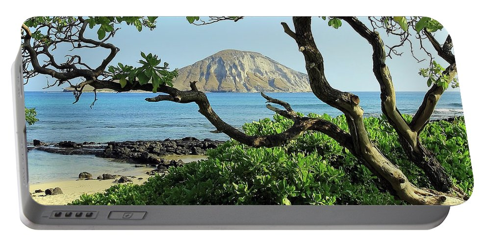 Island Through The Trees Portable Battery Charger featuring the photograph Island Through The Trees by Jennifer Robin