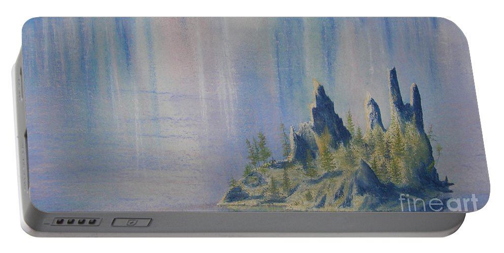 Island Portable Battery Charger featuring the painting Isle Of Reflection by Lynn Quinn