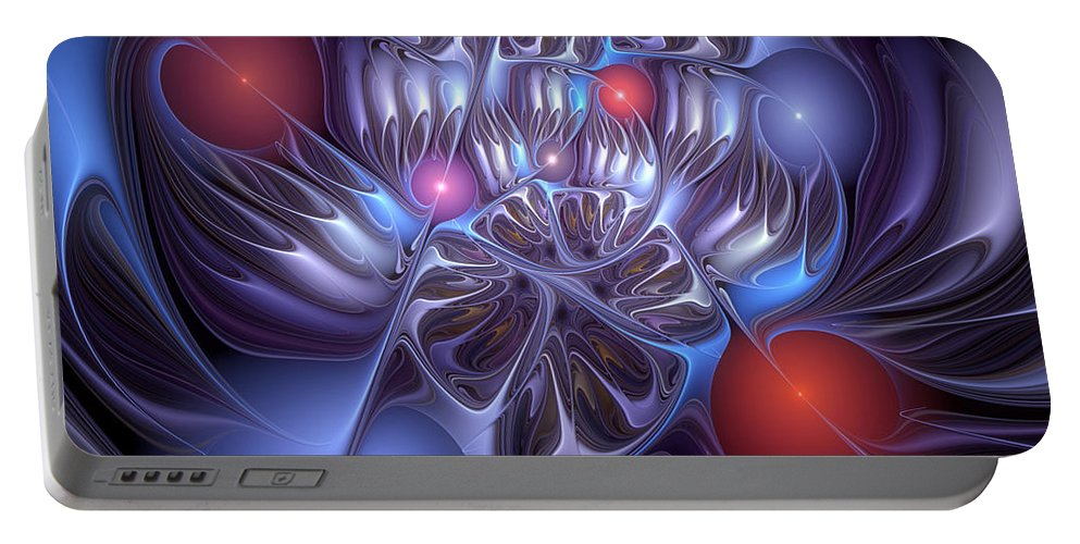 Abstract Portable Battery Charger featuring the digital art Isolation Of Dogmatic Acceptance by Casey Kotas