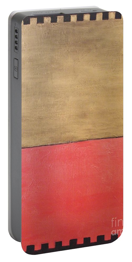 Abstract Portable Battery Charger featuring the painting Israel Sunset by Catalina Walker