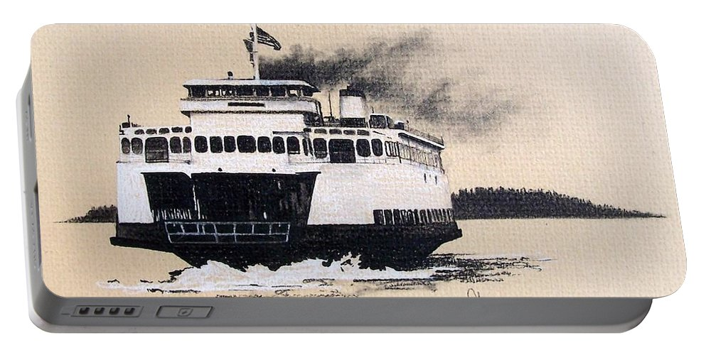 Ferry Portable Battery Charger featuring the pastel Issaquah by Gale Cochran-Smith