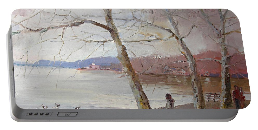 Hudson River Portable Battery Charger featuring the painting It Looks Like Rain by Ylli Haruni