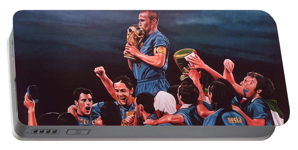 Italia Portable Battery Charger featuring the painting Italia The Blues by Paul Meijering