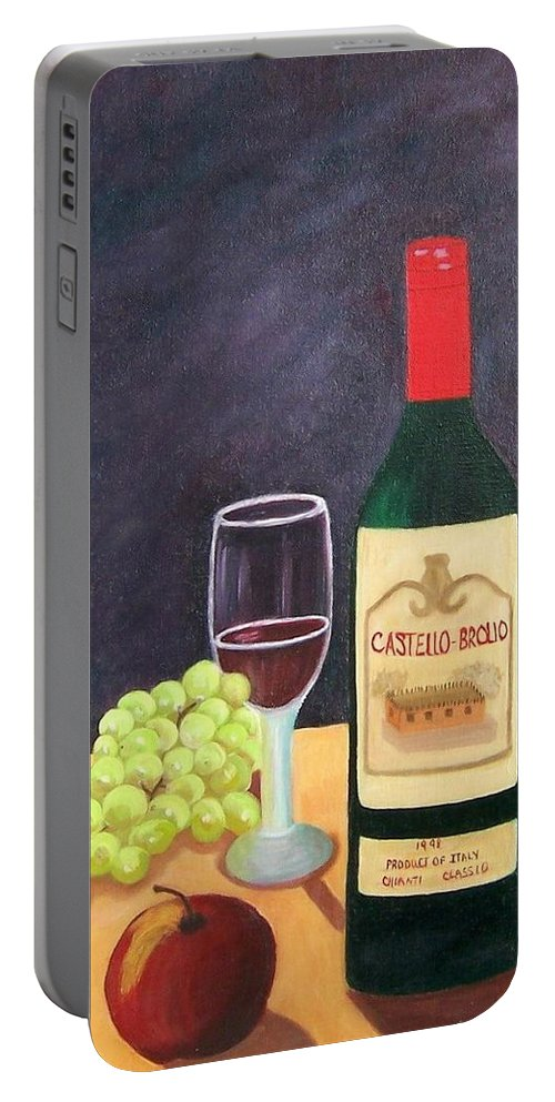 Still Life Portable Battery Charger featuring the painting Italian Wine And Fruit by Ruth Housley