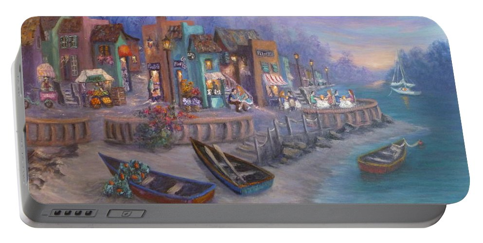 Tuscan Portable Battery Charger featuring the painting Italy Tuscan Decor Painting Seascape Village By The Sea by Amber Palomares