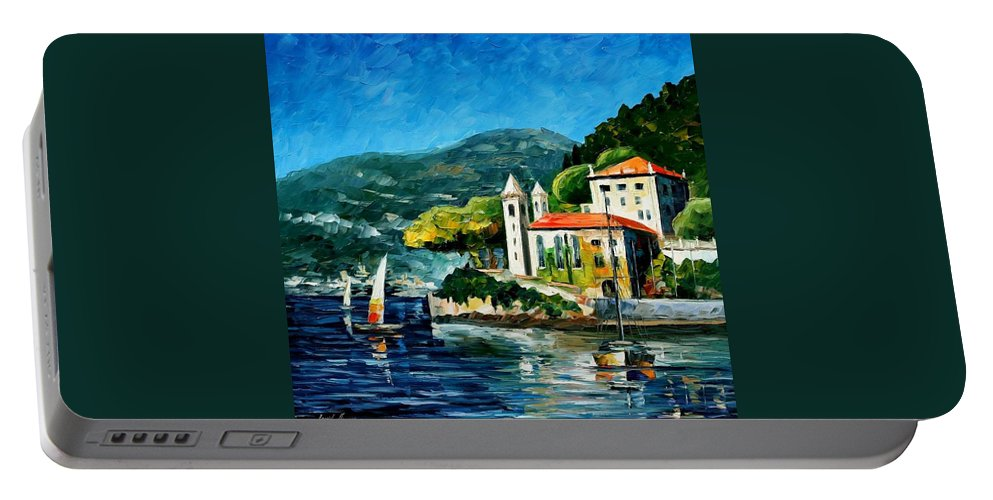 Afremov Portable Battery Charger featuring the painting Italy - Lake Como - Villa Balbianello by Leonid Afremov