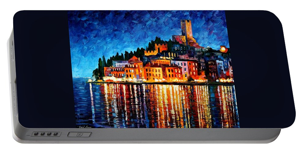 Afremov Portable Battery Charger featuring the painting Italy - Verona by Leonid Afremov