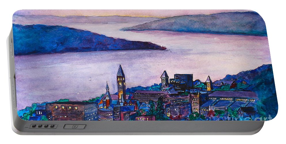 Ithaca Portable Battery Charger featuring the painting Ithaca Ny by Melanie Stanton