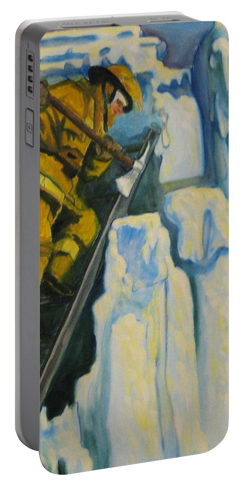 Firefighters Portable Battery Charger featuring the painting Its Not Over Till Its Over by John Malone