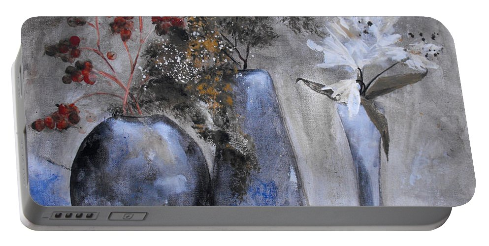 Abstract Portable Battery Charger featuring the painting It's Nothing Personal by Ruth Palmer