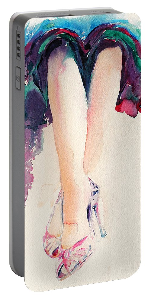 Legs Portable Battery Charger featuring the painting It's Party Time by Stephie Butler