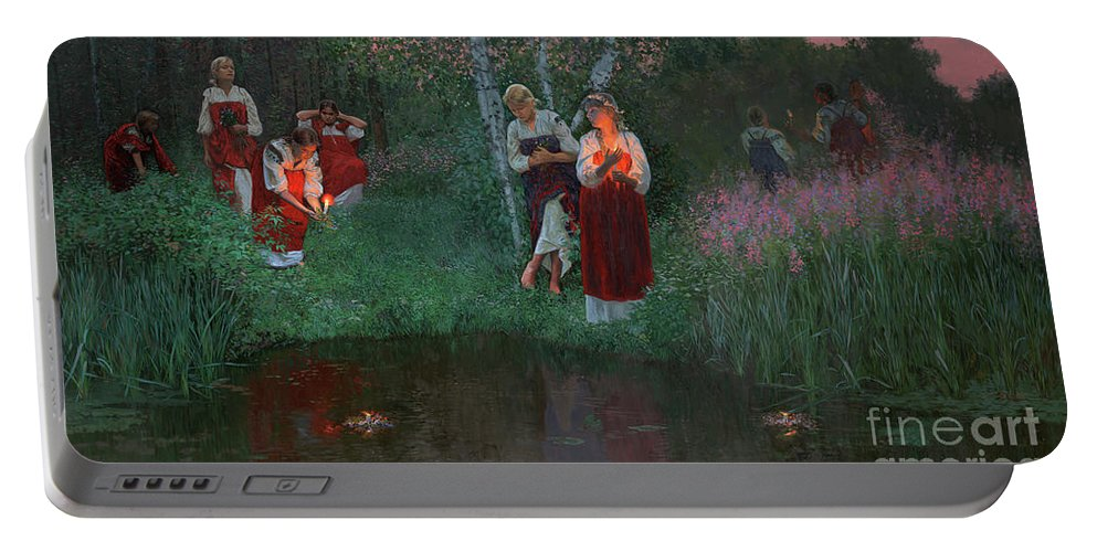Girs Portable Battery Charger featuring the painting Ivan Kupala. Fortunetelling For Wreaths. by Simon Kozhin