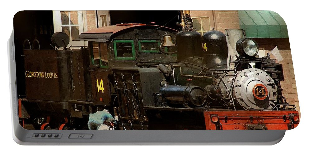 Colorado Portable Battery Charger featuring the painting I've Been Working On The Railroad by RC DeWinter