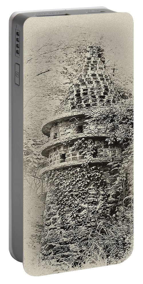 Philadelphia Portable Battery Charger featuring the photograph Ivy Covered Castle In The Woods by Bill Cannon