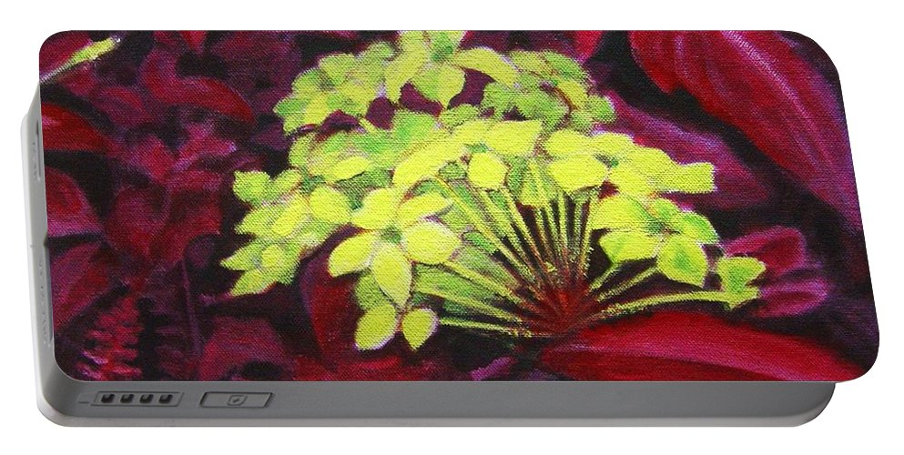Foliage Portable Battery Charger featuring the painting Ixora - Jungle Flame by Usha Shantharam