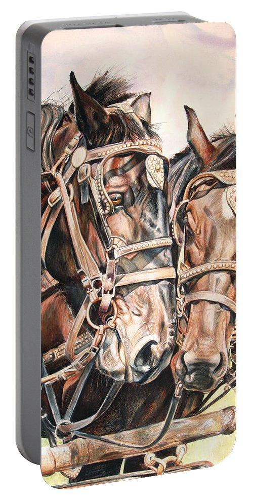 Black Portable Battery Charger featuring the painting Jack And Joe Hard Workin Horses by Toni Grote