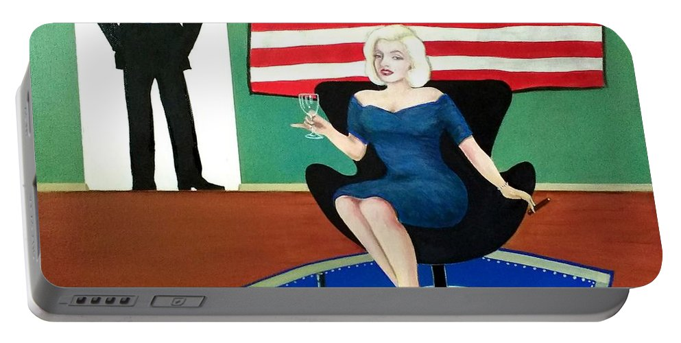 John Lyes Portable Battery Charger featuring the painting Jack And Marilyn by John Lyes