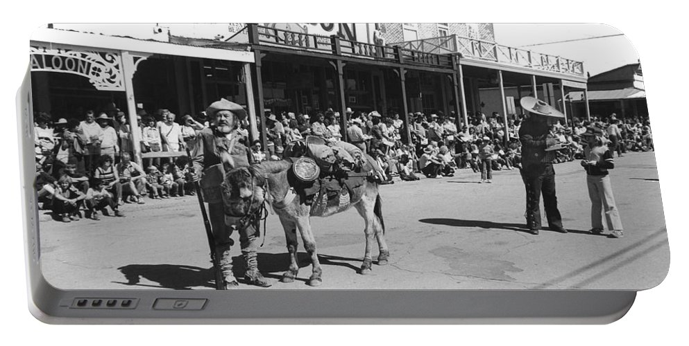 Jack Hendrickson With Pet Burro Number 2 Helldorado Days Parade Tombstone Arizona 1980 Portable Battery Charger featuring the photograph Jack Hendrickson With Pet Burro Number 2 Helldorado Days Parade Tombstone Arizona 1980 by David Lee Guss
