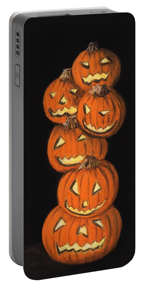 Malakhova Portable Battery Charger featuring the painting Jack-o-lantern by Anastasiya Malakhova