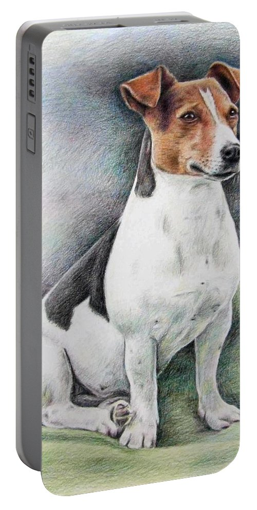 Dog Portable Battery Charger featuring the drawing Jack Russell Terrier by Nicole Zeug