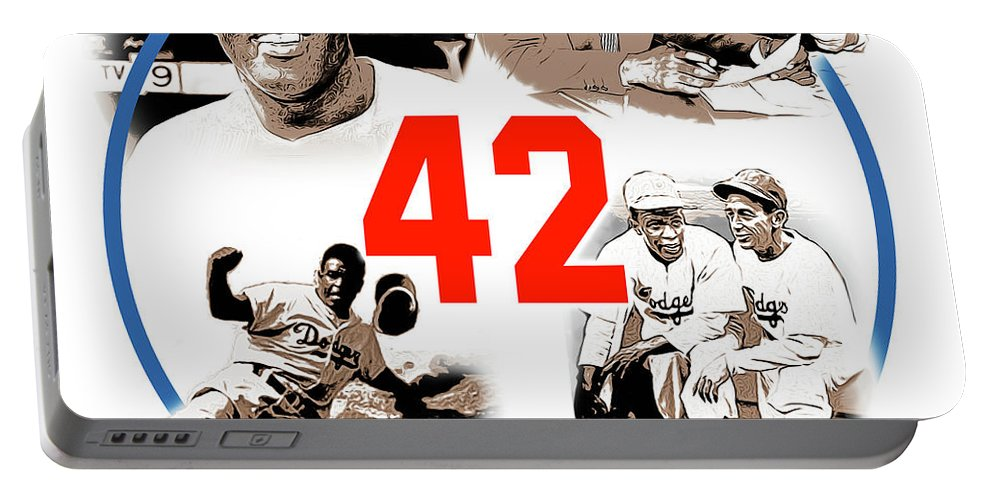 Jackie Robinson Portable Battery Charger featuring the digital art Jackie 42 by Greg Joens